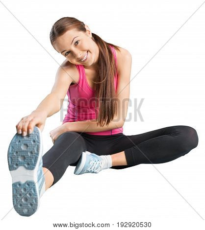 Woman workout sport white background isolated beautiful
