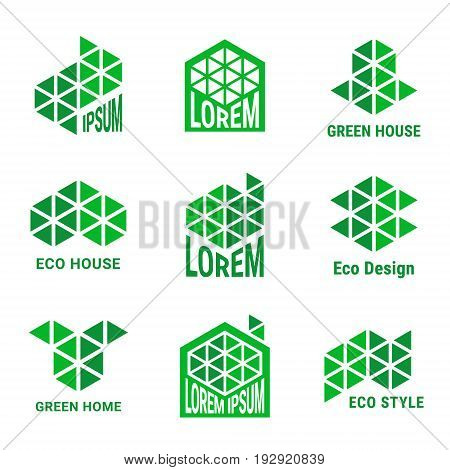 Ecological style logo design for building or construction company. Green emblems made of triangles. EPS 10 vector logotype set. Isolated.