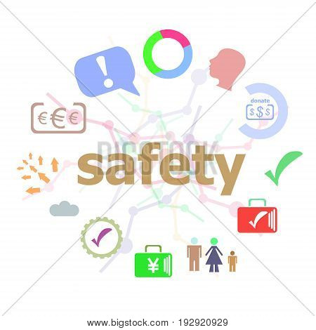 Text Safety. Security Concept . Set Of Line Icons And Word Typography On Background. Creative Soluti