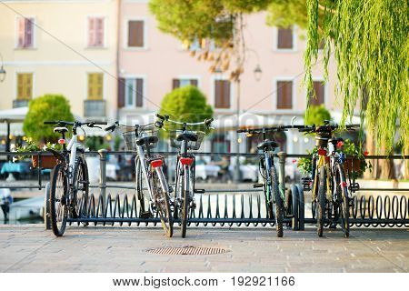 Some Bikes Parked In Small European Town