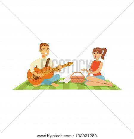Young man playing guitar to his girl on a picnic, happy couple in love sitting on a picnic plaid vector Illustration isolated on a white background