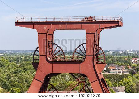 The winding tower of shaft 12 with inscription Zollverein is a well-known symbol of Essen and the whole Ruhr area