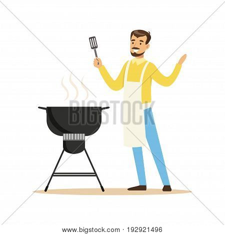 Smiling man in apron preparing barbecue on a grill vector Illustration isolated on a white background