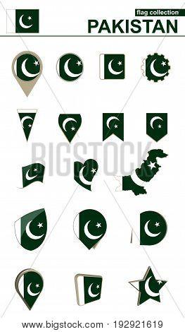 Pakistan Flag Collection. Big Set For Design.
