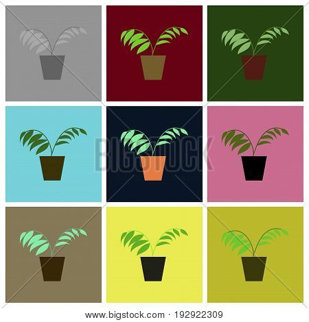 assembly of flat icons Ficus floral nature