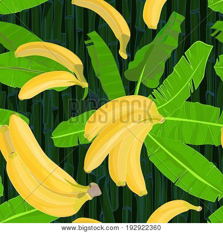 Seamless hand drawn tropical pattern with palm leaves jungle exotic leaf and banana fruit on dark bamboo background. Fashion textile print floral wallpaper. Vector illustration botanical drawing