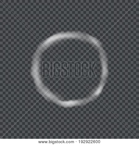 A ring of smoke on a dark transparent background. Vector illustration.
