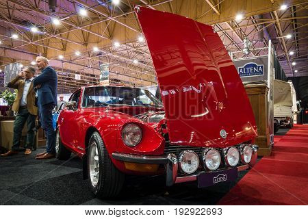 MAASTRICHT NETHERLANDS - JANUARY 14 2016: Sports car Datsun 240Z (Nissan Fairlady Z). International Exhibition InterClassics & Topmobiel 2016