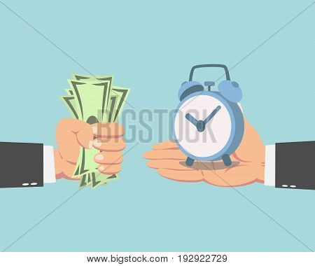 Hand of businessman with money buying a clock isolated on blue background