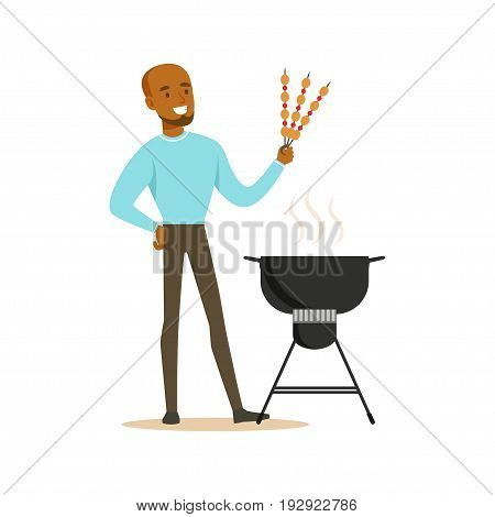 Smiling african man preparing meat kebabs on a barbecue grill vector Illustration isolated on a white background