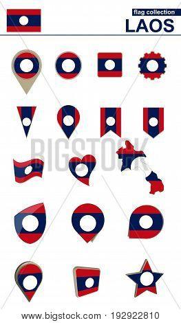 Laos Flag Collection. Big Set For Design.