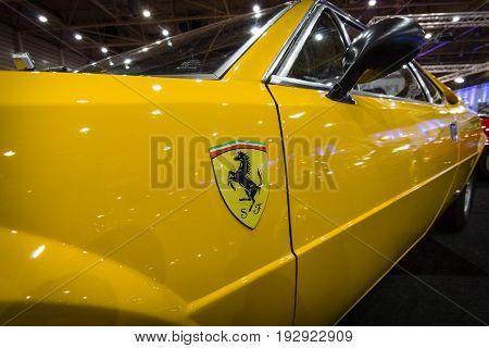 MAASTRICHT NETHERLANDS - JANUARY 14 2016: Fragment of a sports car Ferrari 308 GT4 Dino 1977. International Exhibition InterClassics & Topmobiel 2016