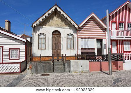 Costa Nova, Portugal - June10, 2017: Aveiro. Famous resort on the Atlantic coast in Beira Litoral Portugal. Popular tourist destination to spend vacation time