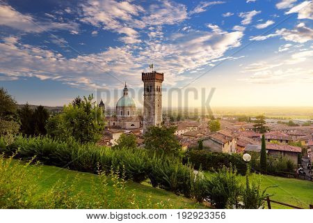 Beautiful sunset view of Lonato del Garda a town and comune in the province of Brescia in Lombardy Italy
