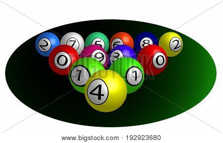 Billiard balls, vector art illustration of billiards.