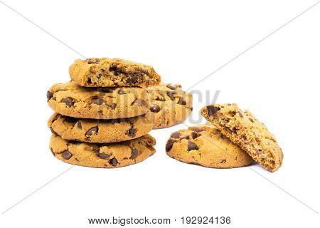 Cookies with chocolate pieces isolated on white background