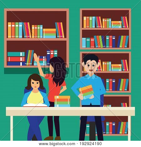 man and woman in a library, working, reading a book. vector illustration