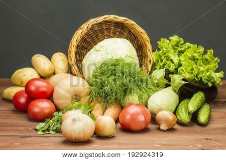 Fresh Vegetables on a Non-Calorie Vegetarian Kitchen Table