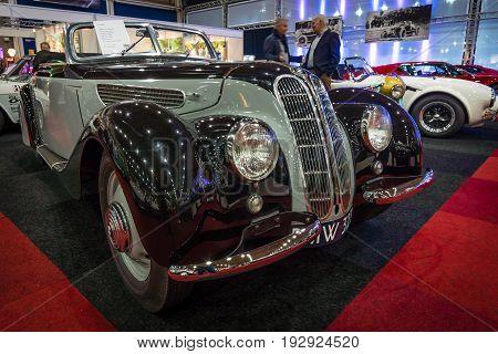MAASTRICHT NETHERLANDS - JANUARY 14 2016: Grand tourer car BMW 327 cabriolet 1939. International Exhibition InterClassics & Topmobiel 2016