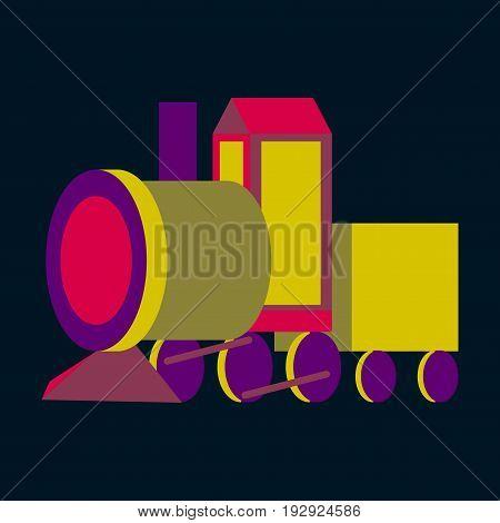 Icon in flat design Toy train child