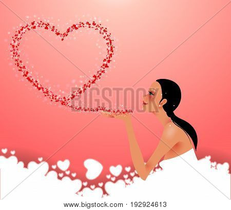 Beautiful girl sends air heart. Skksualna woman sends a kiss. Composition Valentine's Day.