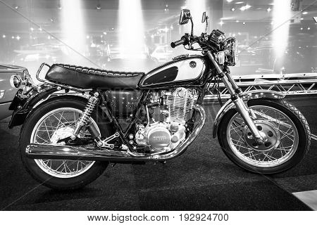 MAASTRICHT NETHERLANDS - JANUARY 14 2016: Street motorcycles Yamaha SR500 1992. Black and white. International Exhibition InterClassics & Topmobiel 2016