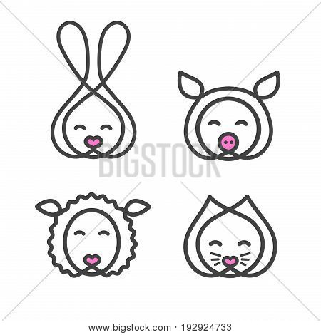 Set logo design template with animal head. Cute rabbit, cat, sheep and pig snout for sign pet shop. Symbol in a linear style with the silhouette of the animal face. Vector