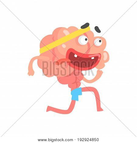 Athletic humanized cartoon brain character running, intellect human organ vector Illustration isolated on a white background