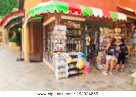 Abstract Blur or Defocus Background of Window Display Souvenir Shop at Travel Destination in Thailand