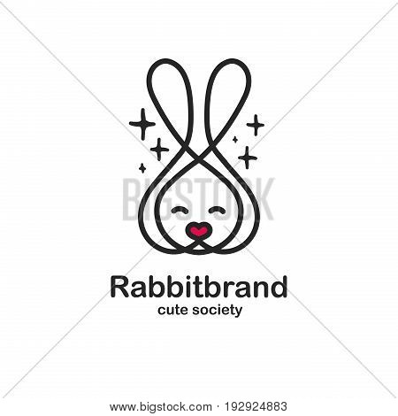Black color logo design template with animal head. Cute rabbit snout for sign pet shop. Symbol in a linear style with the silhouette of the leverets. heart nose. Vector