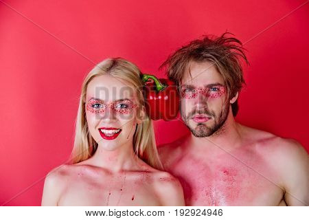 Man And Happy Woman With Makeup Hold Pepper