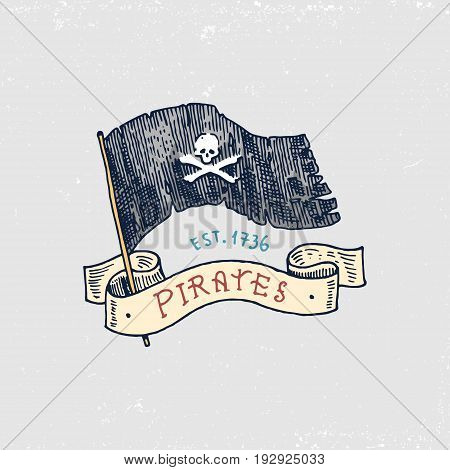 set of engraved, hand drawn, old, labels or badges for corsairs, skull at flag. Jolly roger. Pirates marine and nautical or sea, ocean emblem