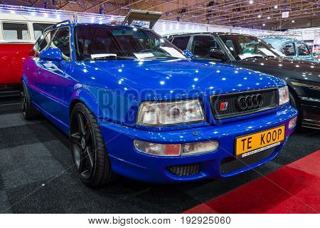 MAASTRICHT NETHERLANDS - JANUARY 14 2016: Compact executive car Audi RS 2 Avant 1989. International Exhibition InterClassics & Topmobiel 2016