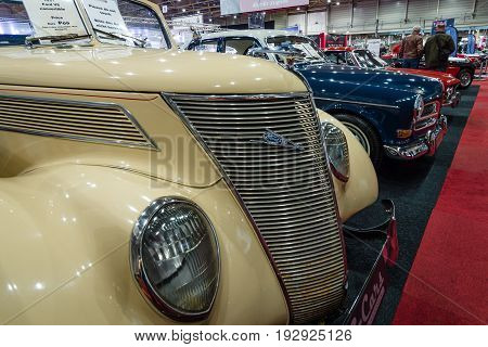 MAASTRICHT NETHERLANDS - JANUARY 14 2016: Full-size car Ford V8 convertible 1937. International Exhibition InterClassics & Topmobiel 2016