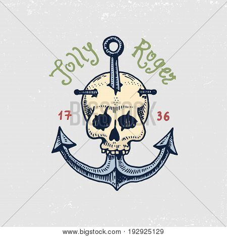 set of engraved, hand drawn, old, labels or badges for corsairs, skull at anchor. Jolly roger. Pirates marine and nautical or sea, ocean emblem