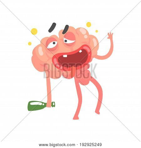 Drunk humanized cartoon brain character walking with a bottle, intellect human organ vector Illustration isolated on a white background