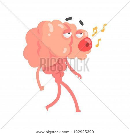Humanized cartoon brain character walking and whistling a melody, intellect human organ vector Illustration isolated on a white background