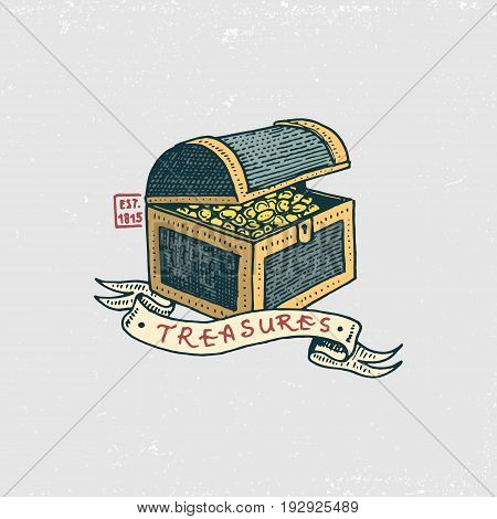 set of engraved, hand drawn, old, labels or badges for corsairs, treasures. Pirates marine and nautical or sea, ocean emblem