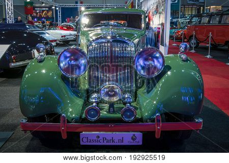 MAASTRICHT NETHERLANDS - JANUARY 14 2016: Retro car Bentley 4.25 Litre Sports Saloon by Park Ward 1938. International Exhibition InterClassics & Topmobiel 2016