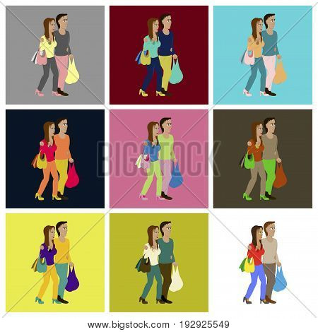 assembly of flat icons Guy and girl with shopping bags