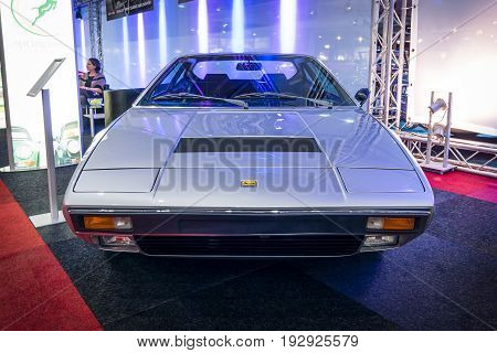 MAASTRICHT NETHERLANDS - JANUARY 14 2016: Sports car Ferrari Dino 308 GT 4 1974. International Exhibition InterClassics & Topmobiel 2016