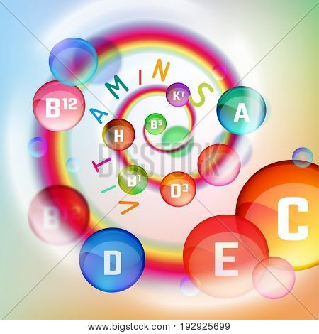Essential vitamin complex. Creative background with vitamins in glossy pills flying in a colourful swirl. Vector illustration in bright rainbow colours. Medical, dietary and pharmaceutical image.