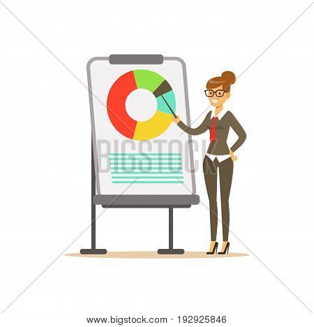 Smiling businesswoman pointing at a whiteboard with chart at a presentation, vector Illustration isolated on a white background