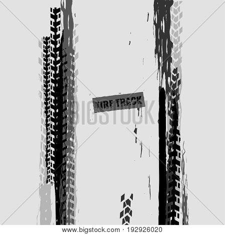 Tire tracks vector illustration. Grunge automotive background element useful for poster, print, flyer, book, booklet, brochure and leaflet design. Graphic image in monochrome white and grey colors.