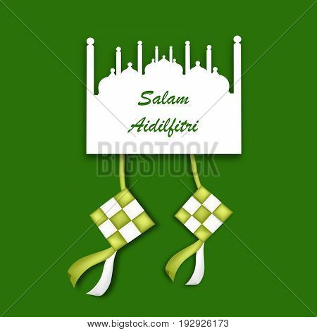 illustration of mosque and traditional Malay Ketupat with Salam Aidilfitri text on the occasion of Muslim festival Salam aidilfitri