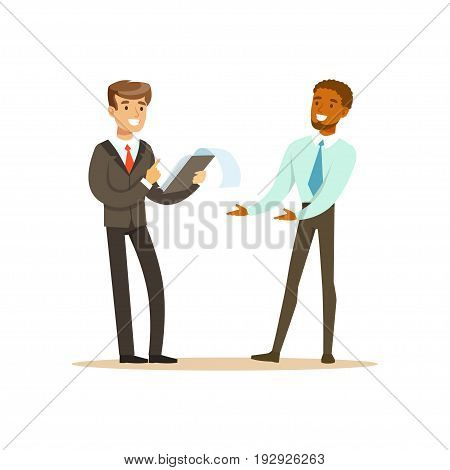 Two businessmen discussing new project in office vector Illustration isolated on a white background