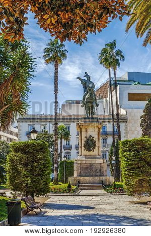 Equestrian Statue Of Jaime I in Parterre Garden Valencia Spain