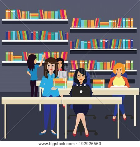 women in a library, working, reading a book. vector illustration