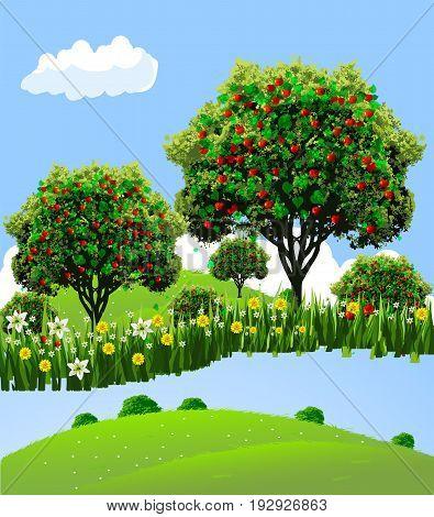 Apple landscape. Apple garden. River front apple garden. Flowers to apple garden.