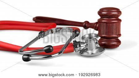 Background stethoscope gavel isolated health board medical